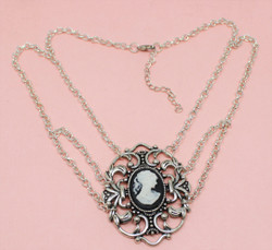 Victorian Cameo Necklace Choker Black