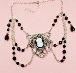 Victorian Cameo Necklace Choker Black Beads