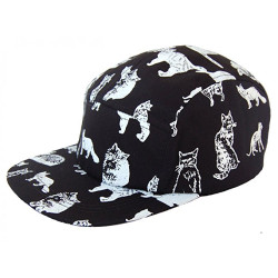 Black and White Kitty Cat Baseball Hat