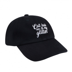 Embroidered Cat Hair is My Glitter Baseball Hat Black Unisex