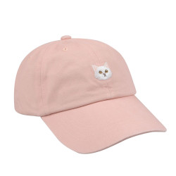 Embroidered Cat Baseball Hat Pink