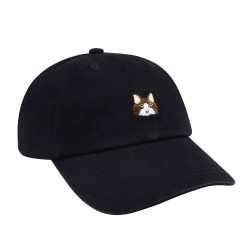 Embroidered Cat Baseball Hat Black