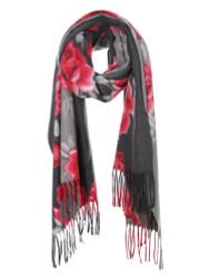 Ultra Soft Elegant Flowers Scarf Cashmere Feel Grey