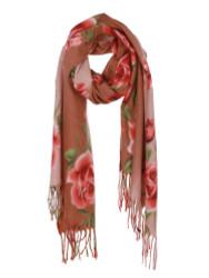 Ultra Soft Flowers Scarf Cashmere Feel Wrap Orange