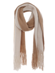Two Toned Soft Knitted Fringed Scarf Winter Tan Beige