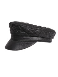 Women's Quilted Baker Boy Cap Newsboy Hat Black