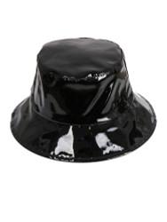Faux Patent Leather Bucket Hat Black