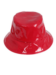 Faux Patent Leather Bucket Hat Red