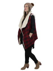 Soft Sherpa Vest High Low Open Front Fits Medium to Large Black Burgundy Checkered