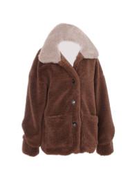 Women's Sherpa Jacket Two Toned with Pockets Medium to Large Khaki