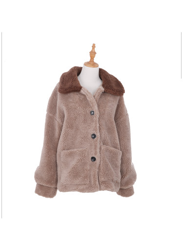 Women's Sherpa Jacket Two Toned with Pockets Medium to Large Beige