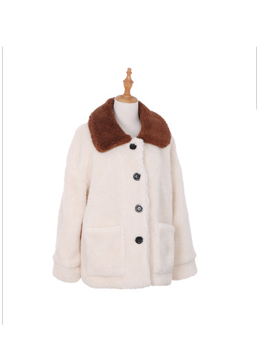 Women's Sherpa Jacket Two Toned with Pockets Medium to Large Ivory