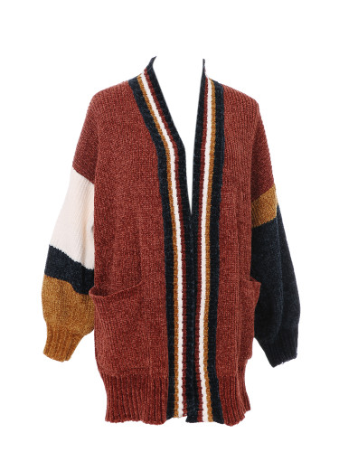 Knitted Corduroy Cardigan Sweater Color Block with Pockets Soft and Silky Brick