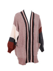 Knitted Corduroy Cardigan Sweater Color Block with Pockets Soft and Silky Pale Pink