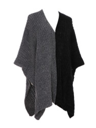 Two Toned Soft Knitted Corduroy Poncho Ruana V-Neck Layered Black