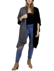 Two Toned Soft Knitted Corduroy Poncho Ruana V-Neck Layered Black