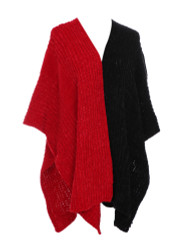 Two Toned Soft Knitted Corduroy Poncho Ruana V-Neck Layered Red