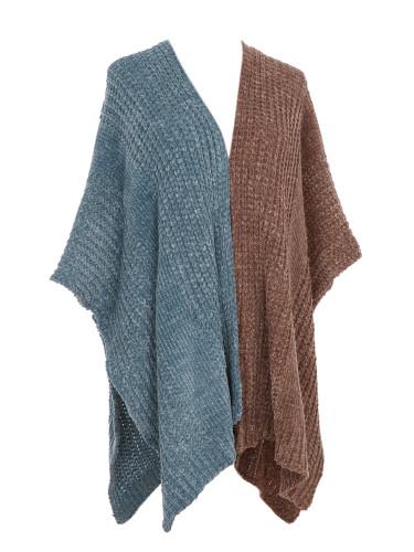 Two Toned Soft Knitted Corduroy Poncho Ruana V-Neck Layered Blue