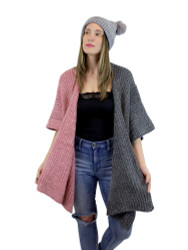 Two Toned Soft Knitted Corduroy Poncho Ruana V-Neck Layered Pink