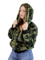 Sherpa Hoodie Jacket with Zipper and Pockets Camouflage
