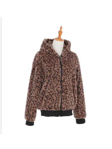 Sherpa Hoodie Jacket with Zipper and Pockets Cheetah