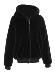 Sherpa Hoodie Jacket with Zipper and Pockets Black