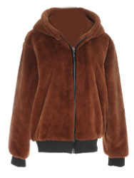 Sherpa Hoodie Jacket with Zipper and Pockets Brick