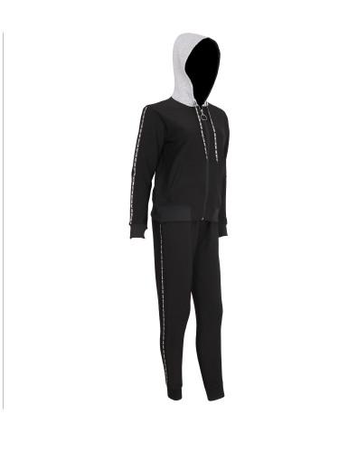 Love Stripe Tape Hoodie Sweatpants Set Black and Grey L