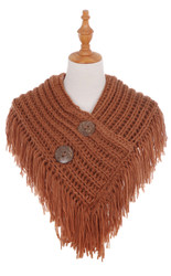 Cable Knit Button Collar Scarf With Fringe Brick