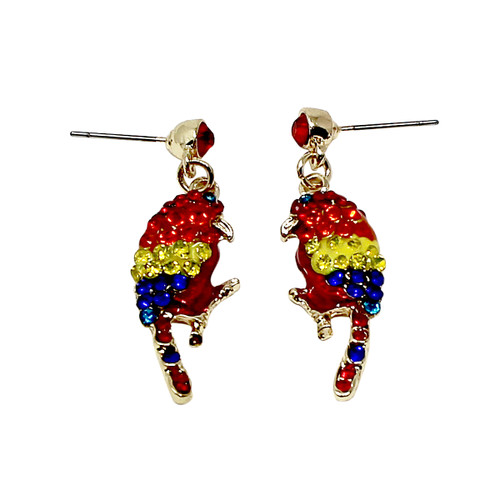 Crystal Parakeet Earrings Multicolor Parrot Bird Colorful Gold Tone