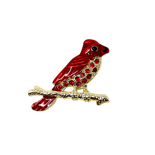 Red Cardinal on Branch Brooch Pin with Rhinestones Bird Gold Toned