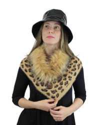Faux Fur Trimmed Leopard Print Knitted Scarf