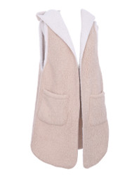 Cozy Soft Sherpa Hooded Vest with Pockets Sleeves Beige Size M-L