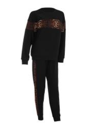 Pullover Sweatshirt and Jogger Set Leopard Print Size L