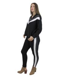Women's Sports Wear Striped Hoodie Full Zipper and Leggings Set L