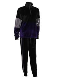 Women's Velour Color Block Sweatshirt Drawstring Crop Jogger Set Purple L