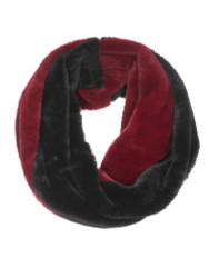 Cozy Faux Fur Color Block Infinity Scarf Burgundy Black