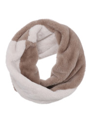 Cozy Faux Fur Color Block Infinity Scarf Tan Ivory