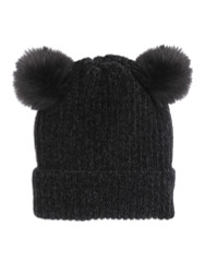 Double Pom Pom Thick Knitted Beanie Hat Faux Fur Lined, Solid Black