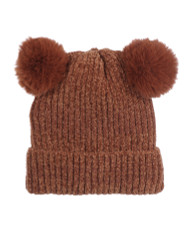 Double Pom Pom Thick Knitted Beanie Hat Faux Fur Lined, Solid Brick