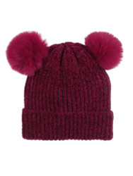 Double Pom Pom Thick Knitted Beanie Hat Faux Fur Lined, Solid Burgundy