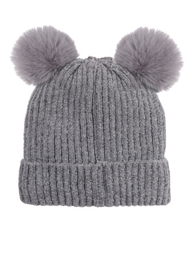 Double Pom Pom Thick Knitted Beanie Hat Faux Fur Lined, Solid Grey