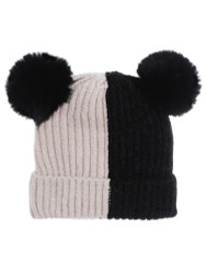 Double Pom Pom Thick Knitted Beanie Hat Faux Fur Lined, Vertical Beige Black