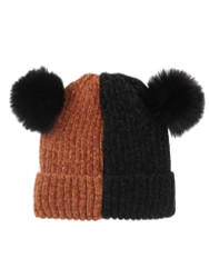 Double Pom Pom Thick Knitted Beanie Hat Faux Fur Lined, Vertical Brick Black