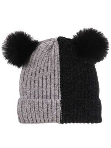 Double Pom Pom Thick Knitted Beanie Hat Faux Fur Lined, Vertical Grey Black