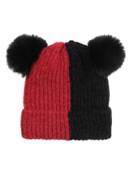 Double Pom Pom Thick Knitted Beanie Hat Faux Fur Lined, Vertical Red Black