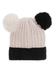 Double Pom Pom Thick Knitted Beanie Hat Faux Fur Lined, Two Tone Beige Black