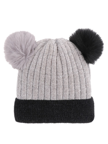 Double Pom Pom Thick Knitted Beanie Hat Faux Fur Lined, Two Tone Grey Black