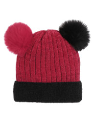 Double Pom Pom Thick Knitted Beanie Hat Faux Fur Lined, Two Tone Red Black
