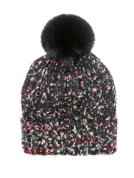 Chunky Knit Multicolor Knitted Beanie Hat Faux Fur Lined Black